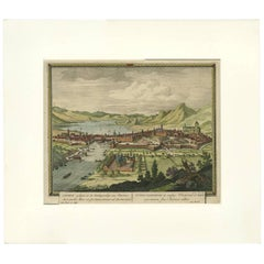 Antique Print of Geneva 'Switzerland' by P. Schenk, circa 1702