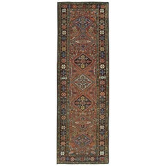 Antique Handmade Persian Heriz Runner Rug