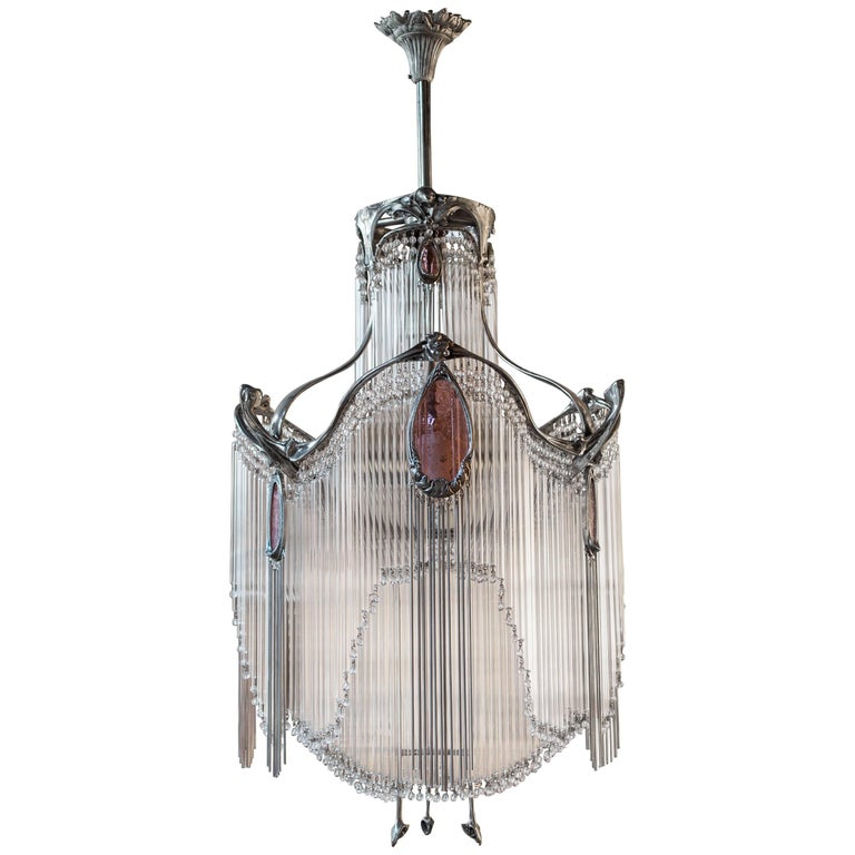 Art nouveau hector guimard chandelier with nickel finish for sale at art nouveau hector guimard chandelier with nickel finish for sale aloadofball Image collections