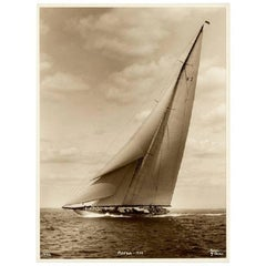 J Class Yacht Astra, Early Silver Gelatin Photographic Print by Beken of Cowes