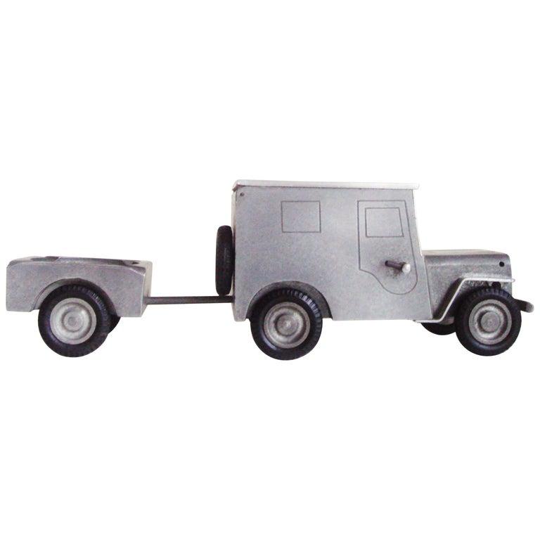 German Midcentury Aluminum Jeep Combination Lighter, Cigarette Server & Ashtray