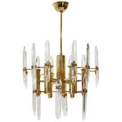 Nine Lights Brass Chandelier from Sciolari, 1970's