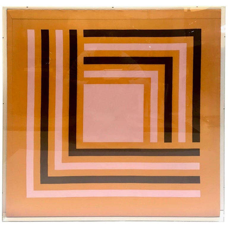 Modernist Abstract Vintage Silk Scarf, Manner of Josef Albers, Lucite Box Frame For Sale