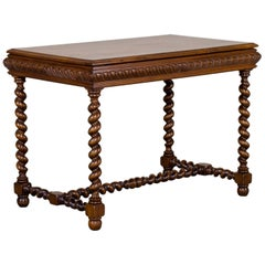 Vintage French Henri II Style Walnut Table with Drawer, circa 1920
