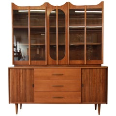 Mid-Century Modern Tambour Door Sideboard Credenza with Glass Front Hutch Top