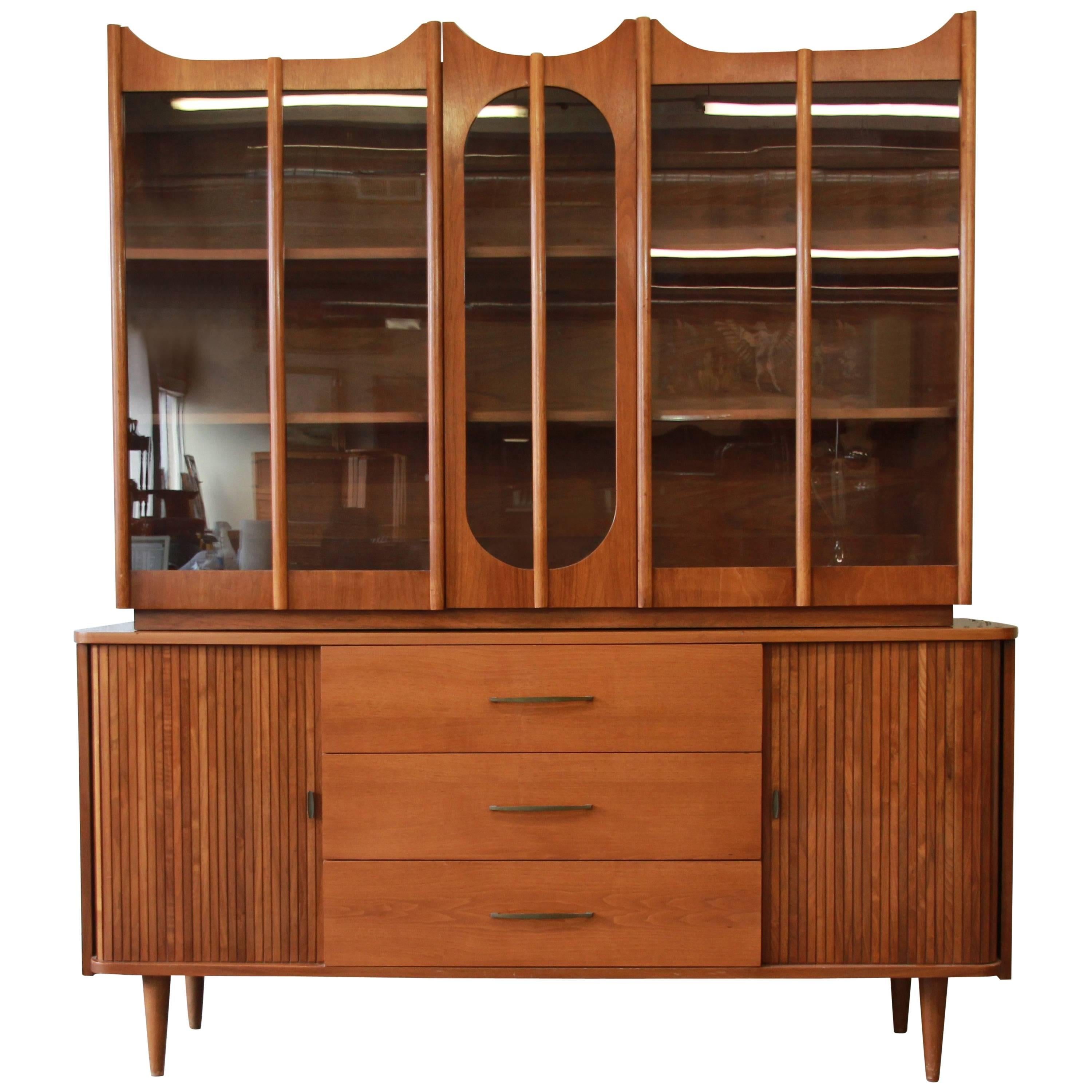 Mid Century Modern Tambour Door Sideboard Credenza With Glass Front Hutch  Top For Sale