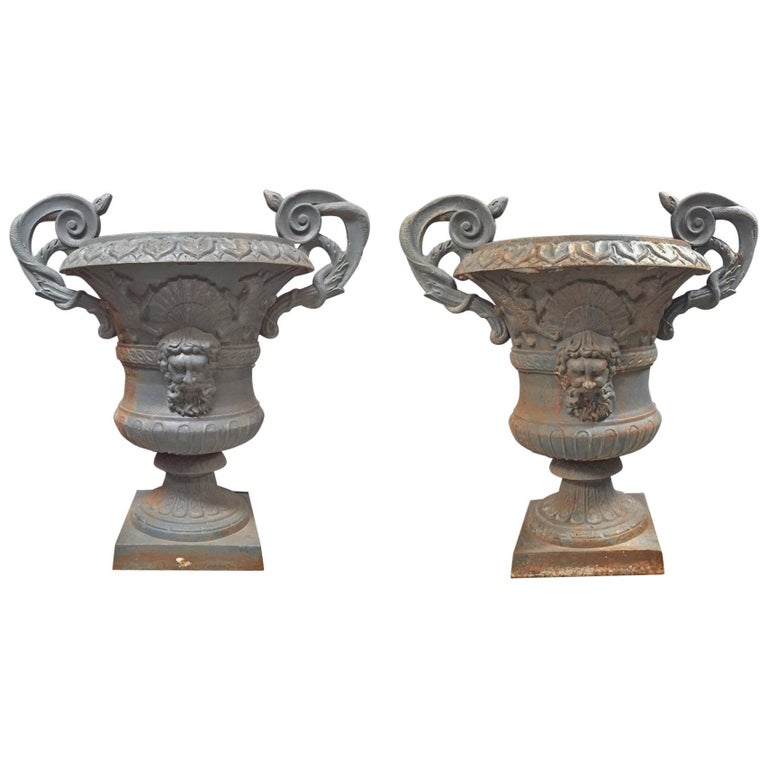 Pair of Italian Hand-Forged Wrought Iron Urns, 19th Century