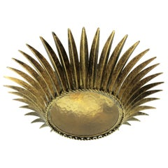 Spanish, 1950s Gilt Iron Sunburst Crown Ceiling Fixture with Amber Glass