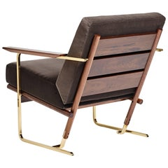 Armchair by Pedro Useche Imbuia Wood Brass Legs