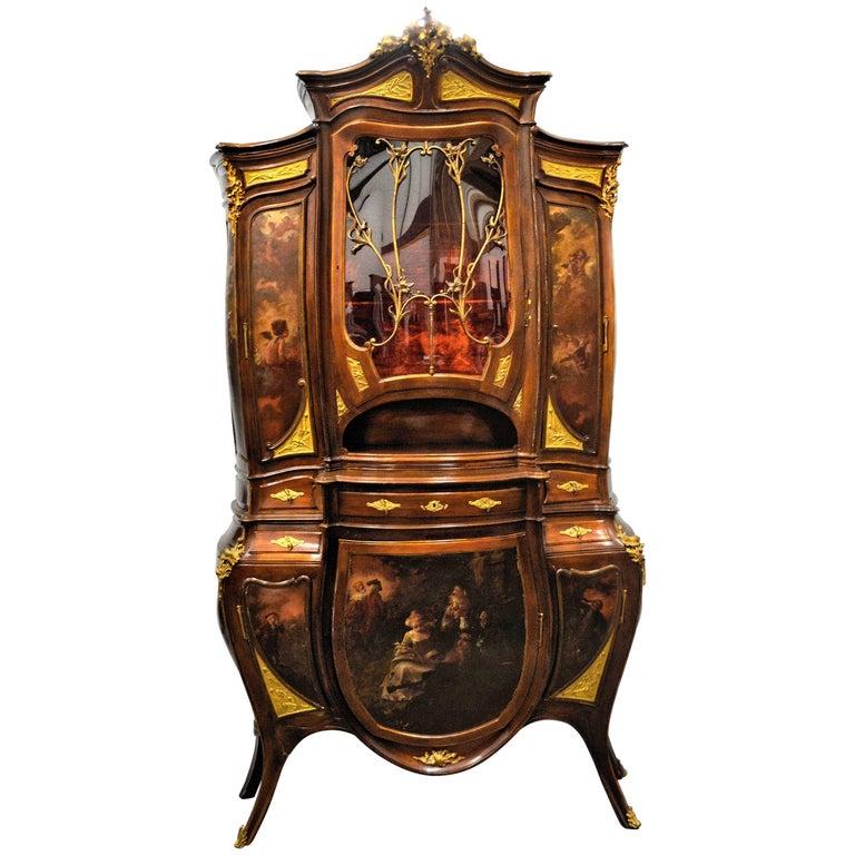 Antique French Art Nouveau Vitrine