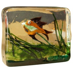 Aquarium Glass Cenedese Murano Paperweight Fish by Ricardo Licata
