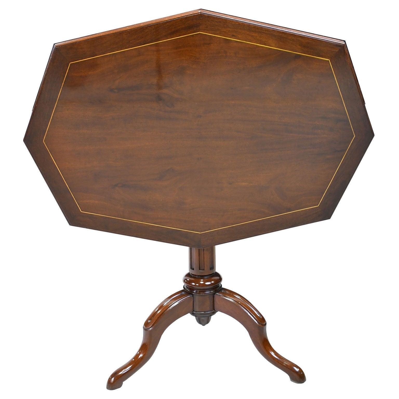 19th Century English Elongated Octagonal Tripod Tilt Top Table in Mahogany