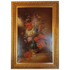 Oil on Canvas Framed Still Life of Summer Flowers. E.V. Coppenolle, Circa 1870