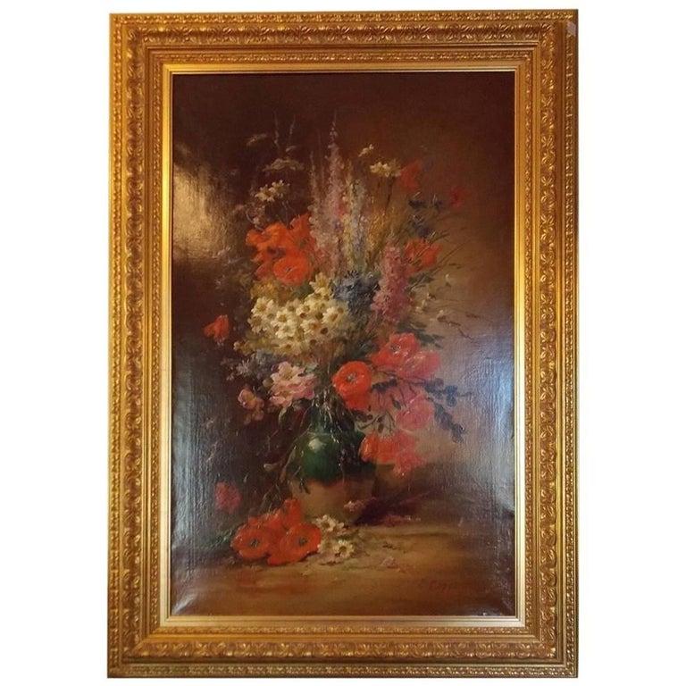 Oil on Canvas Framed Still Life of Summer Flowers. E.V. Coppenolle, Circa 1870