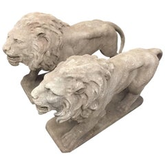 Pair of Italian Cast Stone Standing Lions