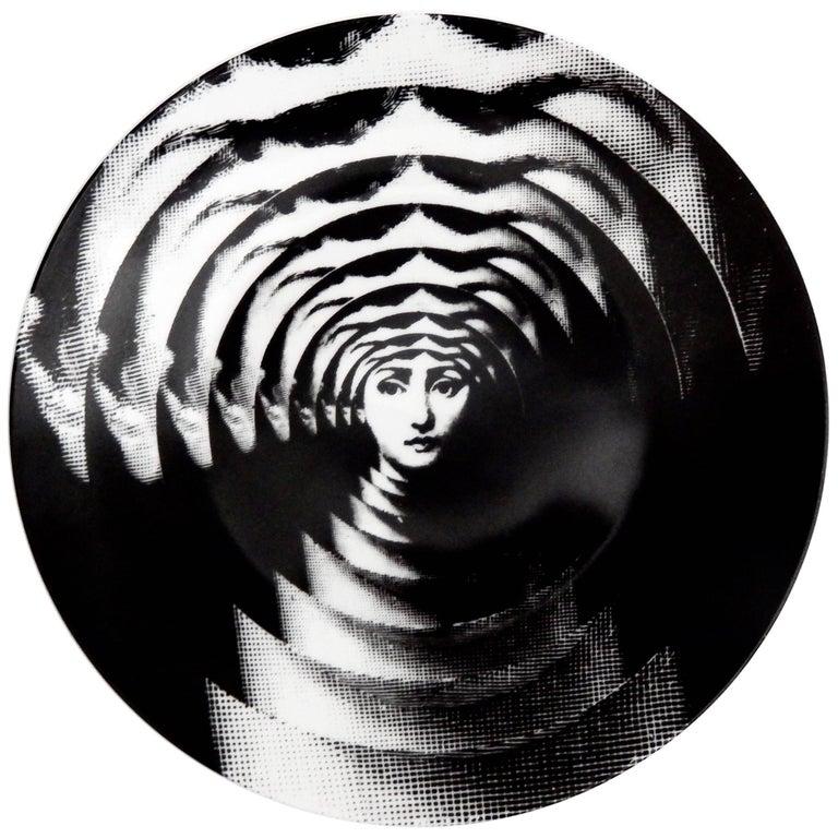 "Fornasetti ""Op Art"" Porcelain Plate, Tema & Variazioni #172 1"