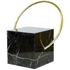 Stool in Black Marble and Brass, Limited Edition by O Formigueiro