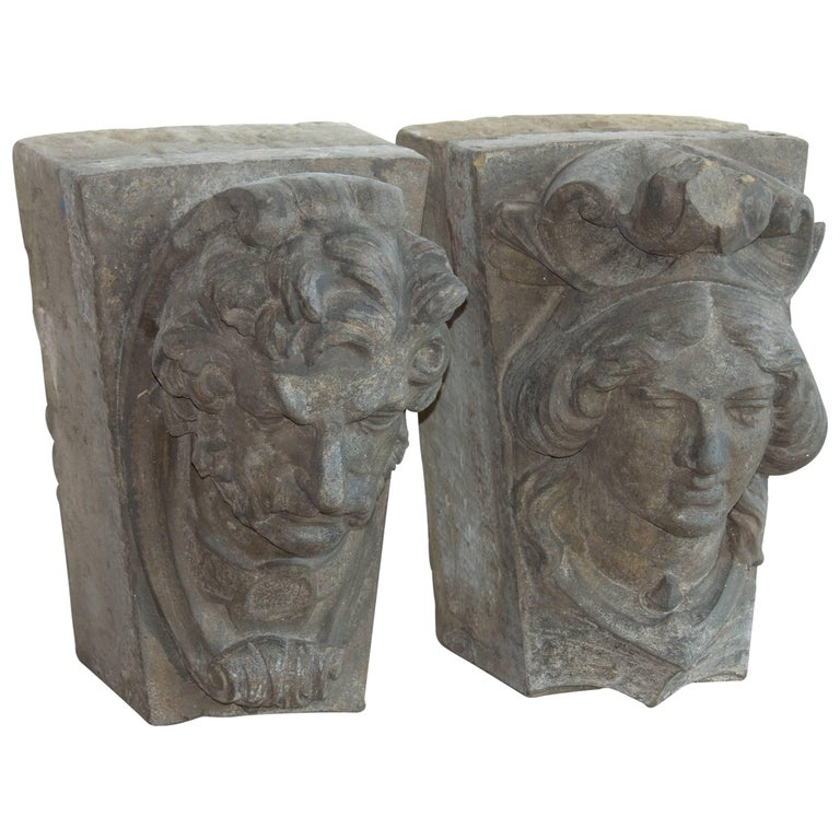Pair of English 19th Century Carved Stone Keystone Heads