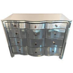 Serpentine Front Mirrored Chest of Drawers