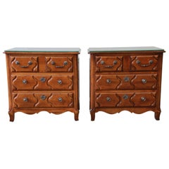 Pierre Deux French Country Three-Drawer Chests or Nightstands by Henredon, Pair