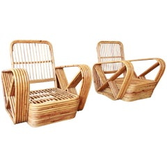 Pair of Bamboo Pretzel Chairs Attributed to Paul Frankl