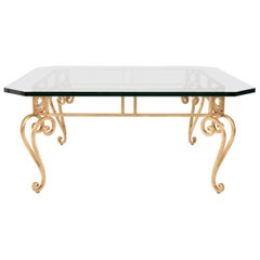 French Midcentury Gilt Iron Glass Top Coffee Table