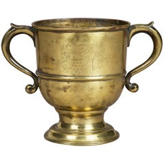 Brass 18th Century Loving Cup, With Coat of Arms of the Westons of Sutton Place