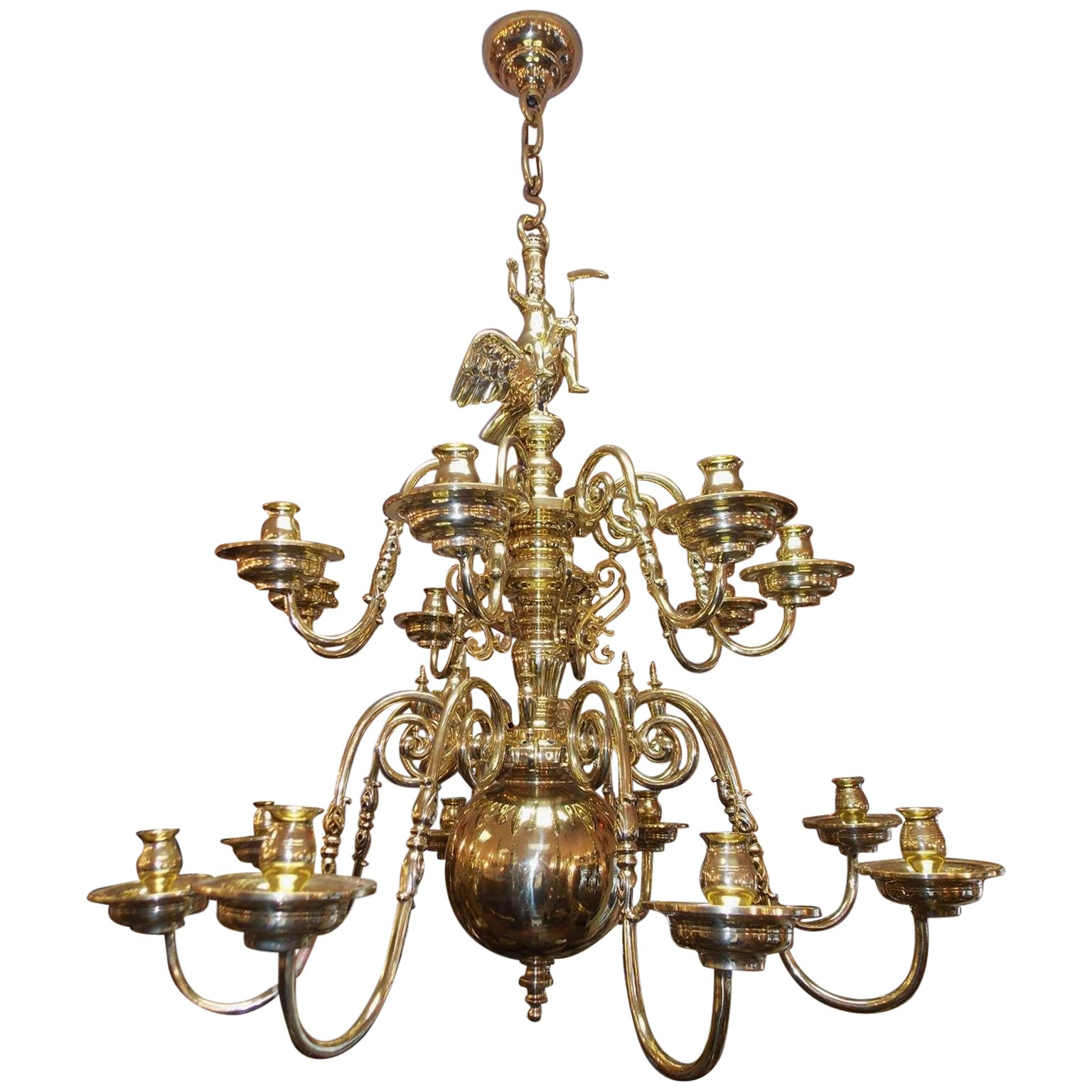 Dutch Colonial Brass Two-Tier Bulbous Figural and Eagle Chandelier, Circa 1780
