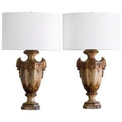 Classical Motif Vintage Italian Ceramic Urn Lamps, Italy, circa 1930