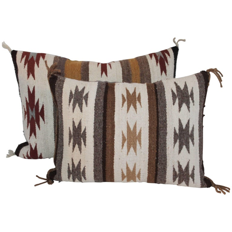 Two Navajo Geometric Bolster Pillows For Sale