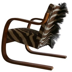 Alvar Aalto Early Edition Cantilevered Armchair in Original Zebra Hide, 1930s