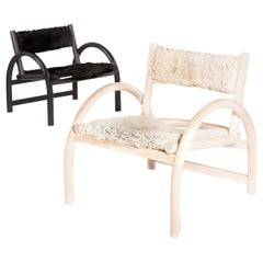 Whitewashed White Ash Lounge Chair with Natural Sheepskin Seat and Backrest