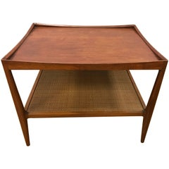 Midcentury Two-Tiered Walnut End Table