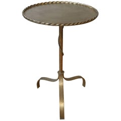 Spanish Gilt Iron Drinks Table with Braided Rope Detail