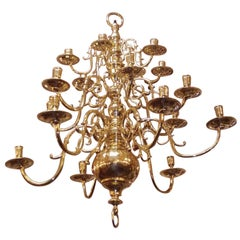 Dutch Colonial Brass Three-Tier Bulbous and Scrolled Chandelier, Circa 1760