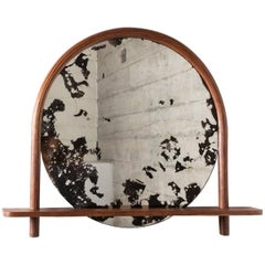 Oxbow Mirror by Hinterland Design in Bent Black Walnut and Hand Etched Mirror