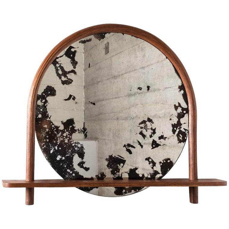 Oxbow Mirror by Hinterland Design in Bent Black Walnut and Hand Etched Mirror For Sale