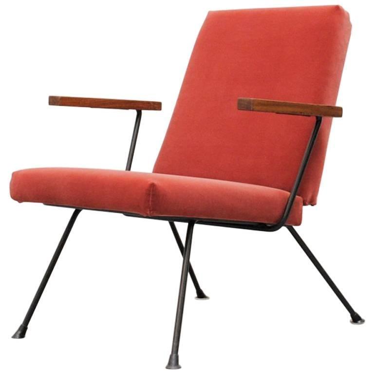 Gispen 1409 Velvet Armchair For Sale