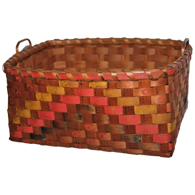 19th Century Penobscot Indian Polychrome Paint Decorated Basket  For Sale