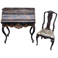 English Chinoiserie Black Lacquered and Gilt Desk with Side Chair, circa 1840