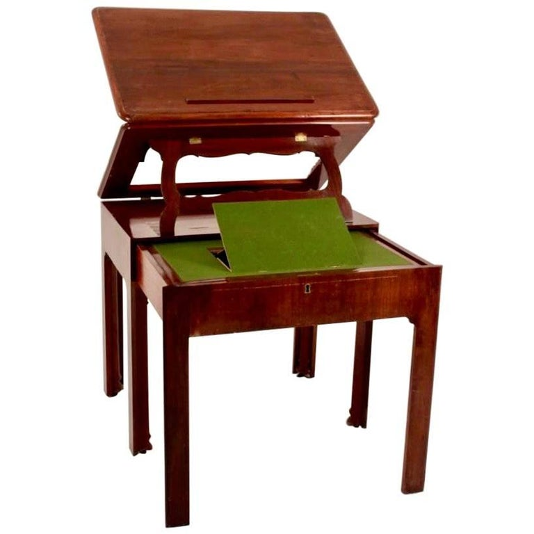 Period George III Chippendale Mahogany Architect's Table or Desk For Sale