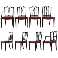 Set of Eight Regency-Style Ebonized Dining Chairs