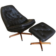 Leather Lounge Chair and Ottoman by Madsen & Schubell