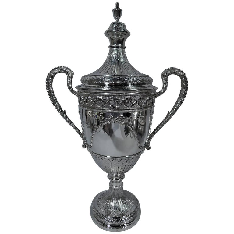 Antique English Neoclassical Sterling Silver Trophy Cup For Sale