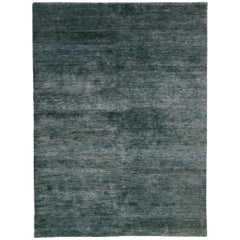 Noche Blue Green Hand-Knotted Jute Rug by Nani Marquina, Ariadna Miquel, Large