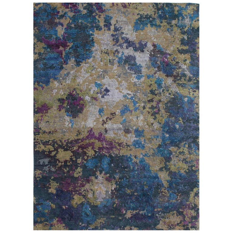 Organic Contempory Green Turquoise Purple Organic Hand-Knotted Wool and Silk Rug For Sale