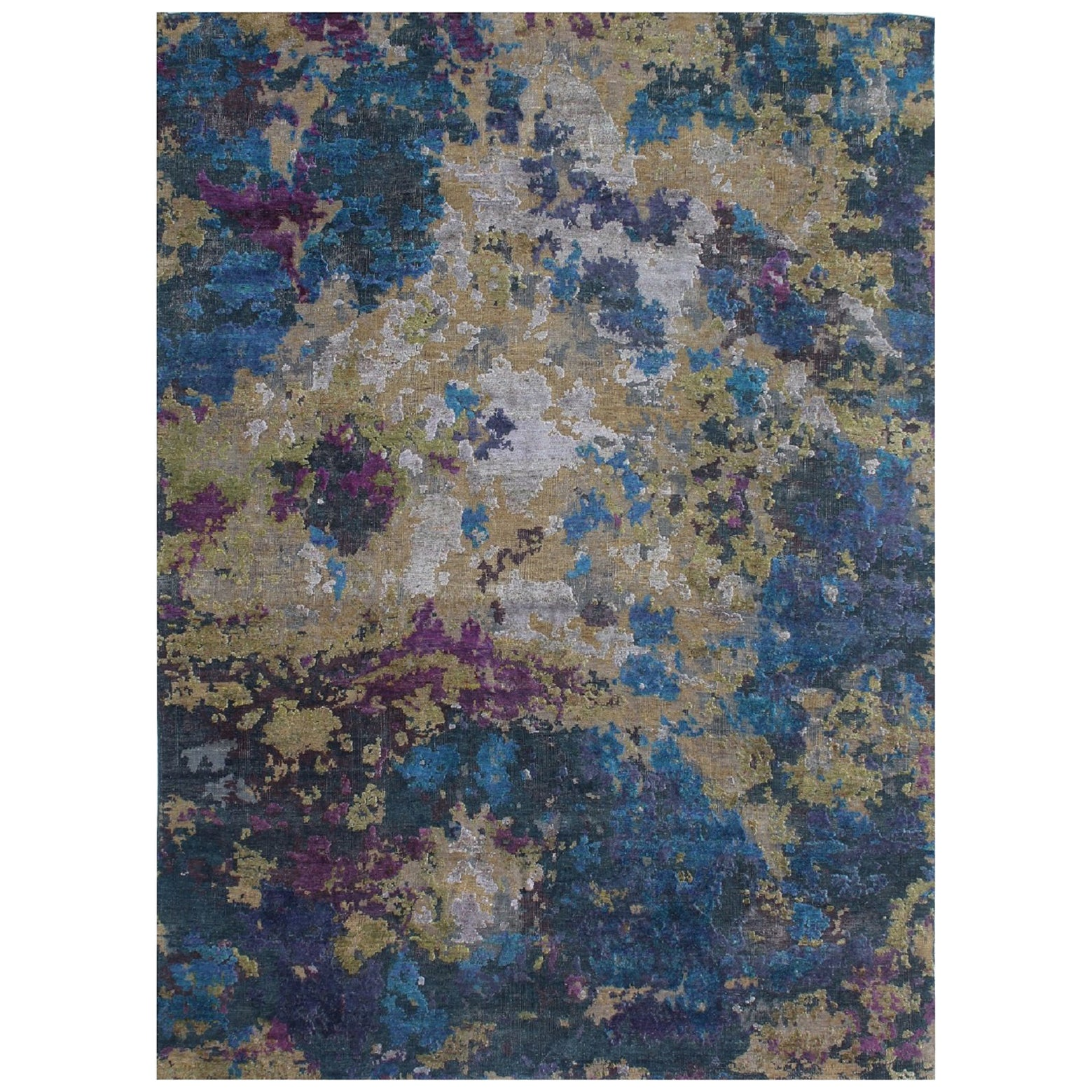 Organic Contemporary Green Turquoise Purple Hand-Knotted Wool and Silk Rug
