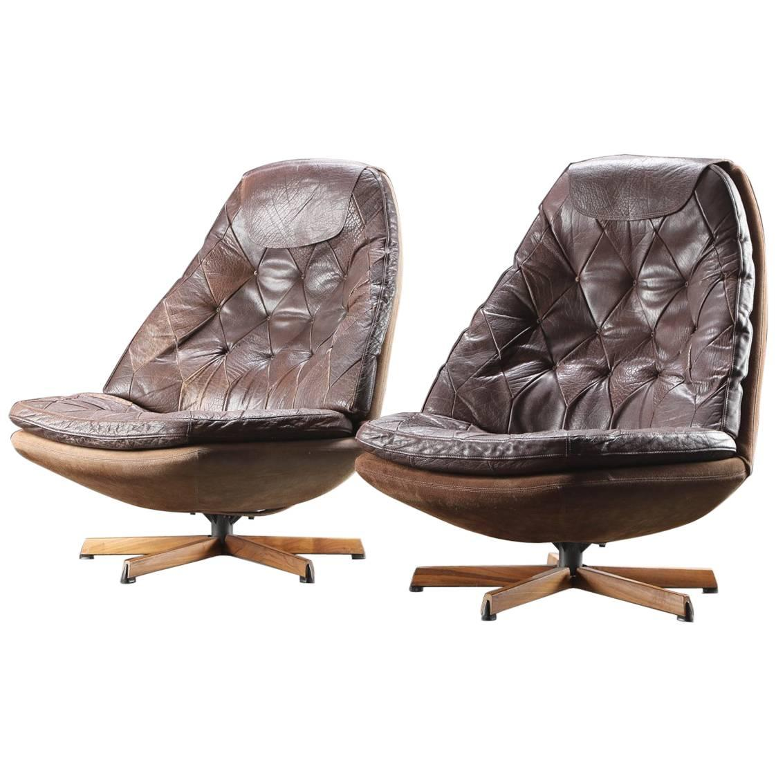 Pair of Danish Leather Upholstered Swivel Chairs by Madsen & Schubell