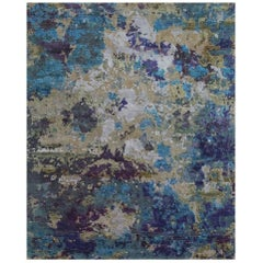 Odyssey 'Aldrin-Ophelia' Hand-knotted, Wool and Silk, Abstract Rug,