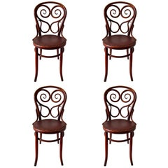 Set of Four Bentwood Thonet Chairs